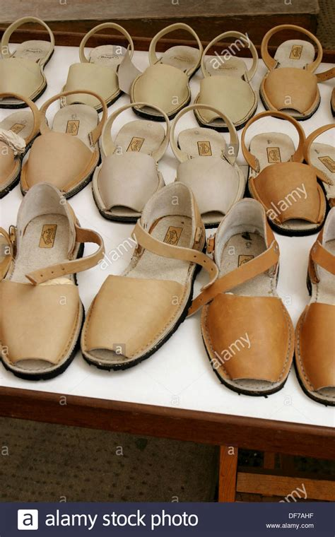 Handmade Shoes Spain - avarques typical handmade shoes menorca spain stock