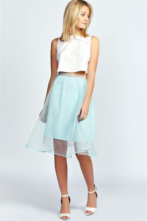 Gyefa Flowery Overlap Midi Skirt Boohoo Organza Overlay Pastel Midi Skirt In Mint Ebay