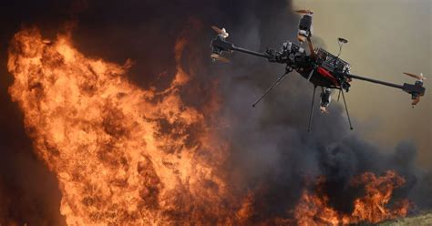 fire fighting drone firefighters blame drones for putting lives at risk during