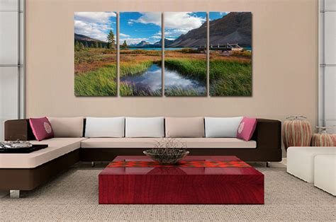 large canvas for living room 4 panel landscape painting canvas wall picture home decoration living room canvas print