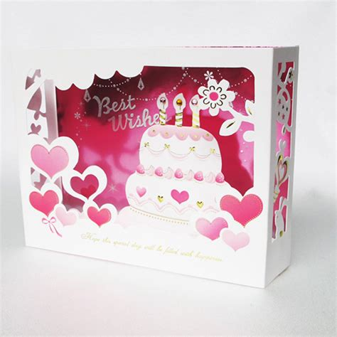 Pop Up Handmade Birthday Cards - series cake handmade kirigami origami 3d