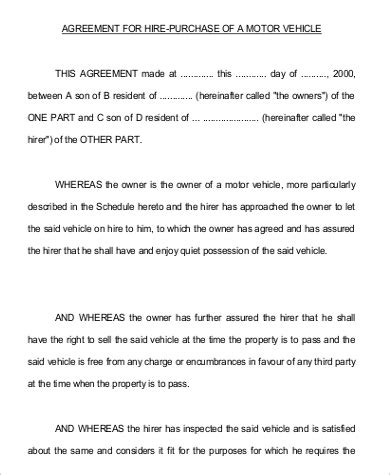 hire purchase agreement template vehicle purchase agreement sle 9 exles in word pdf