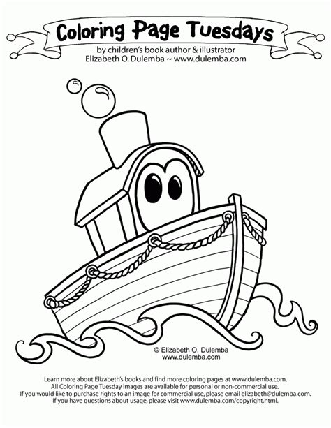 Coloring Page Tuesdays by Dulemba Coloring Page Tuesday Boat Coloring Home