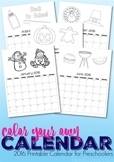 2016 calendar free printable this little street printable 2016 calendar coloring book for preschoolers
