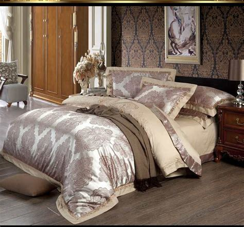 measurement of king size comforter silk satin jacquard bedding set king size luxury 4pc