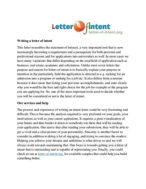 Letter Of Intent To Use Services Template Letter Of An Intent Writing Service