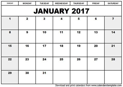 printable calendar layout january 2017 calendar template