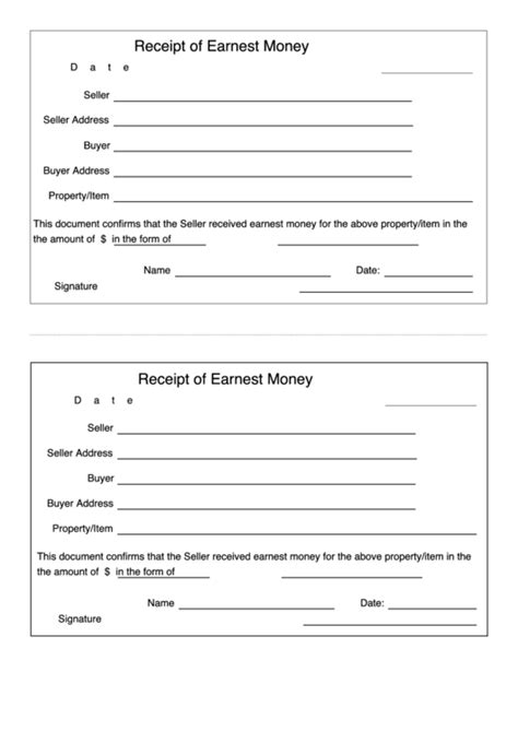Earnest Money Receipt Template by Receipt Of Earnest Money Template Printable Pdf
