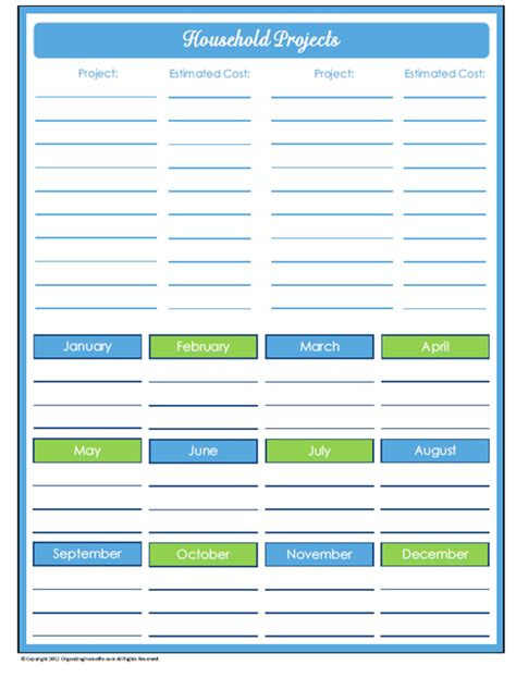 printable project planner free 9 best images of free household organizer printables