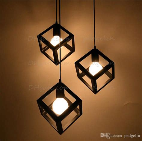 Vintage American Country Style Small Black Cube Cage Retro Pendant Lights Industrial Lighting
