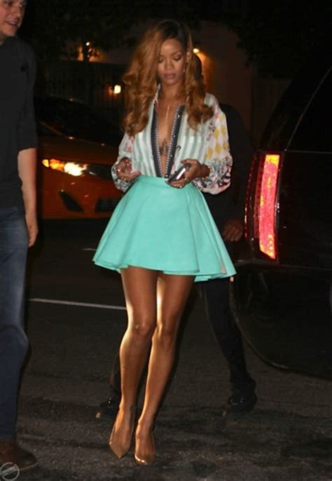 celebrity pink skirt skirt clothes celebrity blue skirt rihanna rihanna