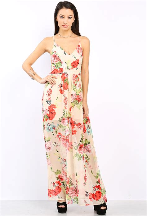 Maxi Dress Motif Dress Motif Dress Corak floral pattern chiffon maxi dress shop dresses at papaya clothing