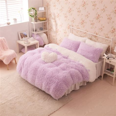 Purple White Girls Cashmere Wool Velvet Ruffle Queen Size Duvet Cover Bedding Sets Girls Ruffle