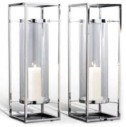 Floor Hurricane Candle Holders by Pair Adour Silver Glass Modern Square Tall Hurricane