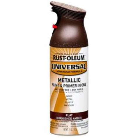 home depot spray paint and primer rust oleum universal 11 oz all surface flat metallic
