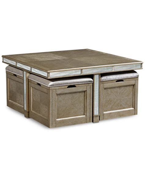 Coffee Table Storage Cubes Ailey Cube Coffee Table With 4 Storage Ottomans Created For Macy S Furniture Macy S