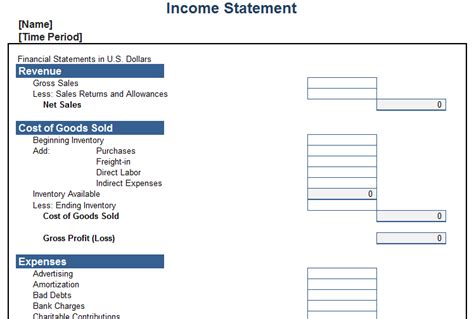 personal income statement template blue layouts