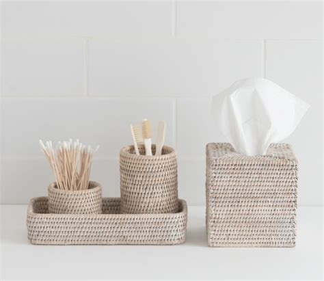 sablon white washed rattan bathroom accessories