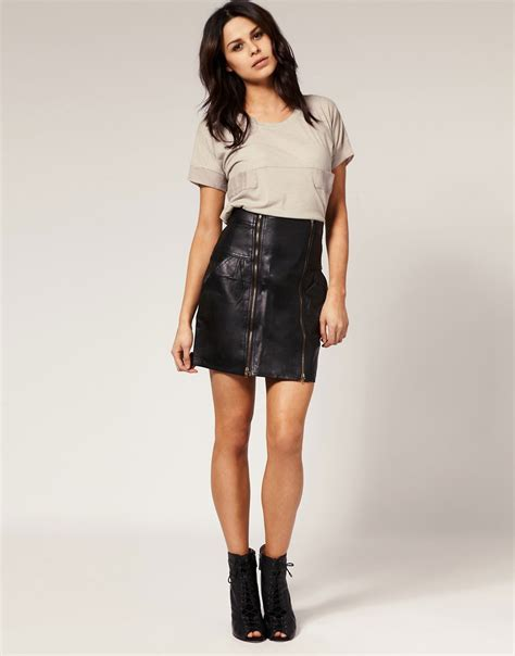 beautiful wearing leather skirt images