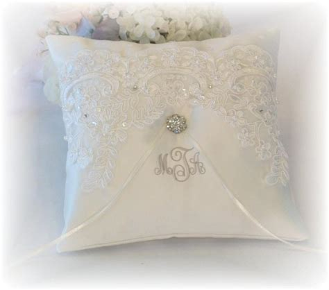 Personalized Ring Bearer Pillows by Ring Bearer Pillow Ivory Ring Bearer Pillow Monogrammed