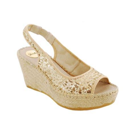 Sequined Wedge Sandal by Vidorreta Sequin Wedge Sandal Espadrille Gold