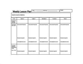 Lesson Plan Word Template by Weekly Lesson Plan Template 8 Free Word Excel Pdf