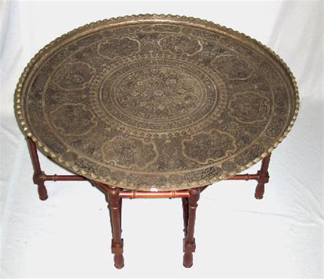 coffee table embossed indian metal tray with 1351636