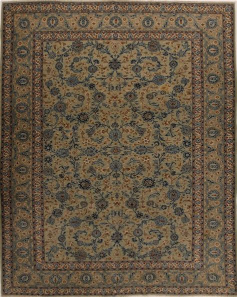 3d Area Rugs Kashan Green Rectangle 10x14 Ft Wool Carpet 14273