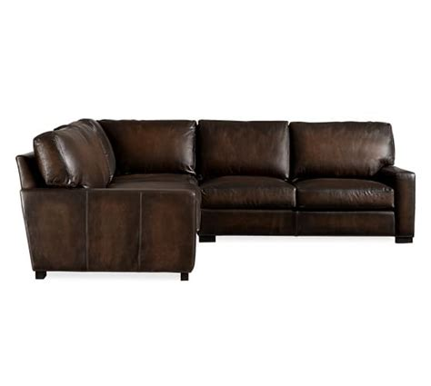 L Shaped Leather Sofas Turner Square Arm Leather 3 L Shaped Sectional With Corner Pottery Barn