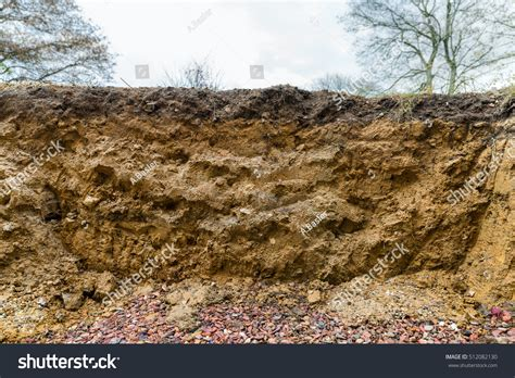 cross section of soil cross section excavation showing layers soil stock photo