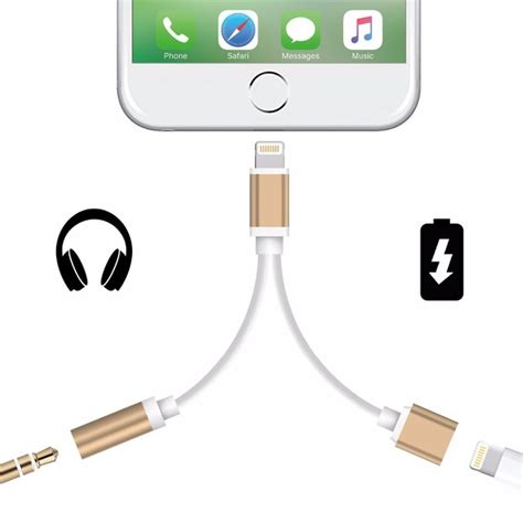 Usb 2 In 1 Cable Aux Plus Charging And Play Version Iphone 7 aliexpress buy 2 in 1 for apple iphone 7 iphone7 plus adapter headphone usb charging