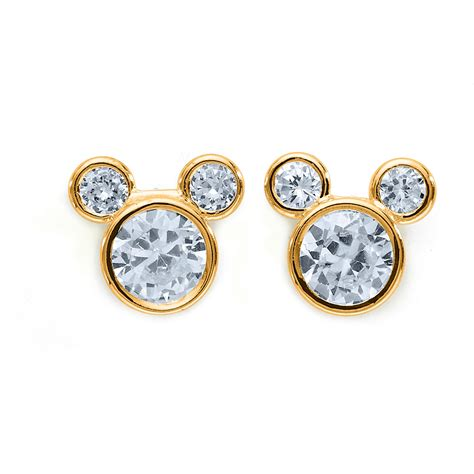 s cubic zirconia 14k yellow gold mickey mouse stud