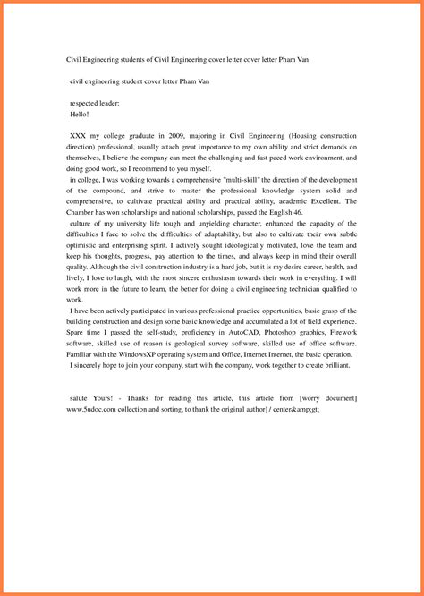 civil engineering job email cover letter sample