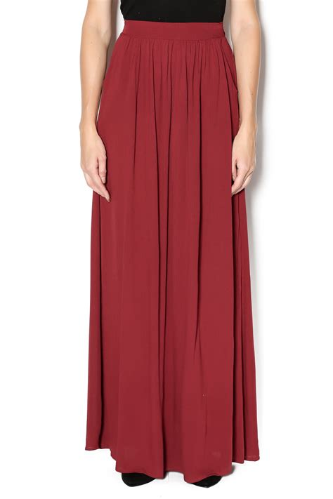 Elis Maxi Maroon 1 vanilla bay maroon maxi skirt from tennessee by southern muse shoptiques
