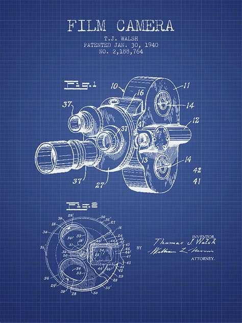 film blueprint film camera patent from 1940 blueprint drawing by aged pixel