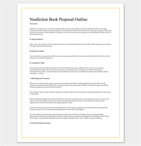 non fiction book outline template 5 for word pdf