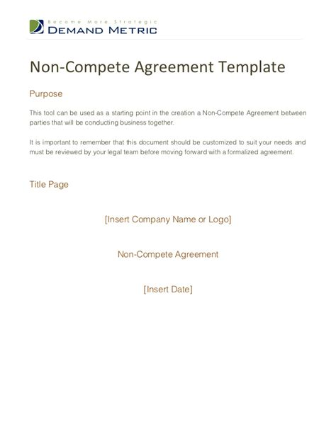 non compete agreement free template non compete agreement template