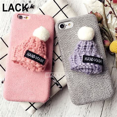 Terbaru Casing Fur Hat Series Iphone 6 6s new fashion funda for iphone 7 warm rabbit fur plush hat phone for iphone7 6
