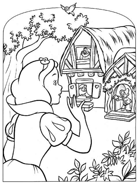 Coloriage Blanche Neige et la maison des nains dessin