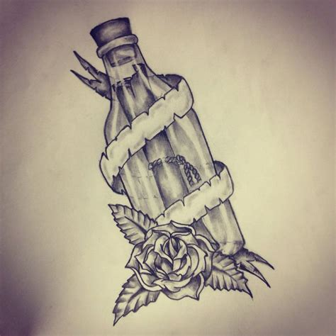 message in a bottle tattoo sketch by ranz pinterest