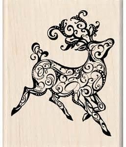 inkadinkado wood mounted stamp reindeer filigree