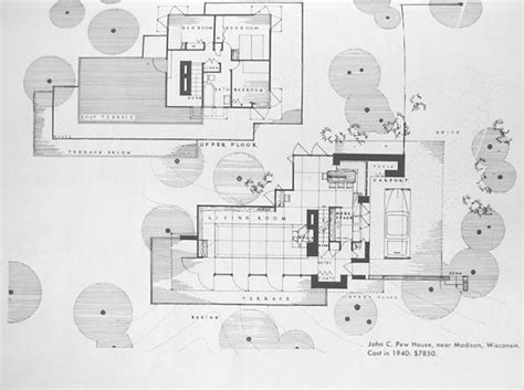 usonian house plans for sale john c pew house floor plan frank lloyd wright buildings pinterest frank lloyd wright
