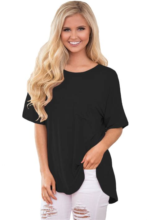 Sabrina Chic Simple Blouse cheap simple chic relaxing fit pocket front hollow out blouse