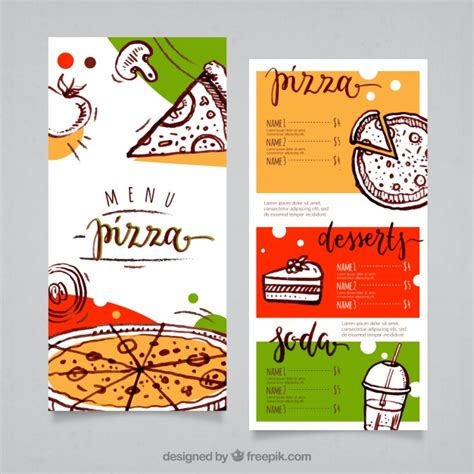 pizza menu template vector free download