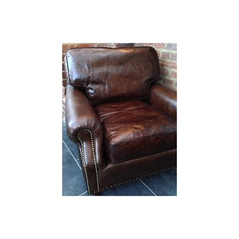 retro vintage leather armchair solid hand  leather