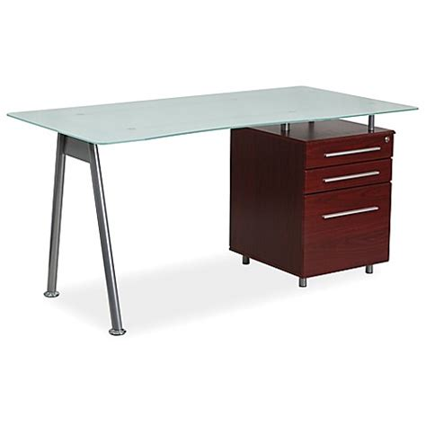 bed bath and beyond desk flash furniture frosted glass computer desk with mahogany