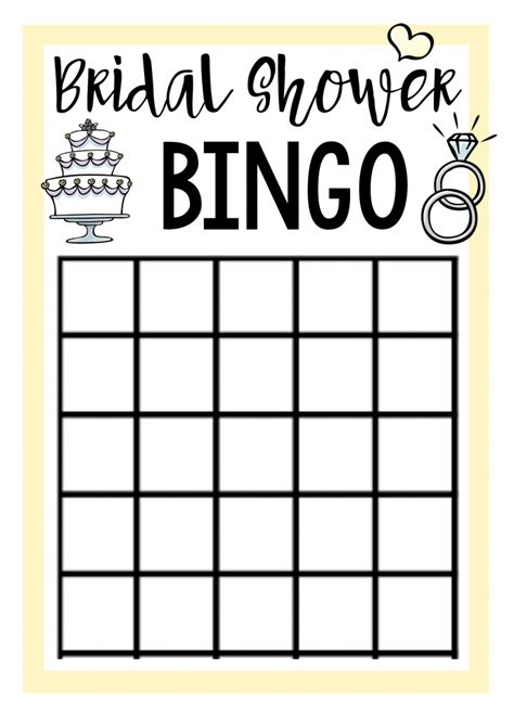 blank bridal shower bingo template bridal shower squared