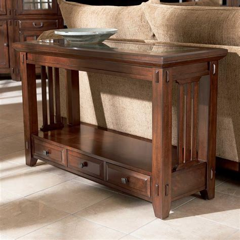 table sofa broyhill furniture vantana three drawer sofa table