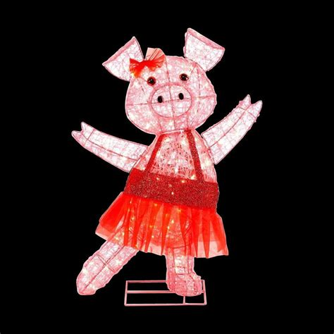 pink christmas pig outdoor decoration home accents 32 in pre lit acrylic pink pig ty048 1411 the home depot