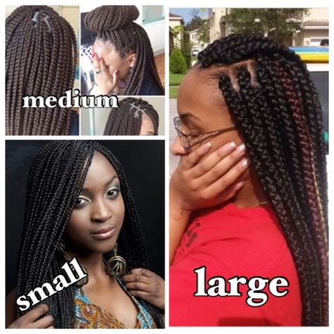 medium size box braids with a bang different sizes of box braids natural hairstyles and